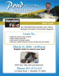 Pond Seminar in Mansfield Texas