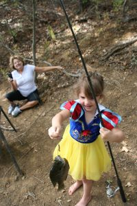 4Q3 Granddaughter Jentry with bluegill, Snow White outfit